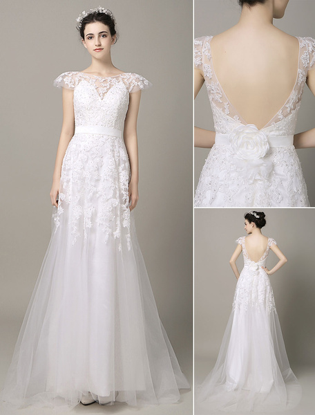 Milanoo  Backless Wedding Dress Ribbon Flower Sash Lace Applique Cap Sleeves Court Train Tulle Bridal Gown