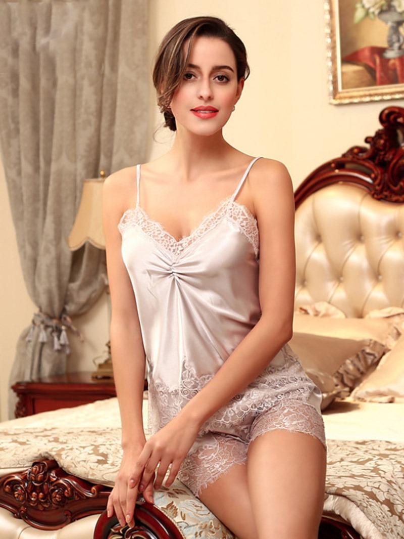 Ericdress Pleated Sleeveless Lace Satin Pajama Camisole Short Sets