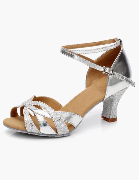 Milanoo Latin Dancing Shoes Ballroom Dance Shoes Glitter Cut Out Criss Cross Dance Shoes