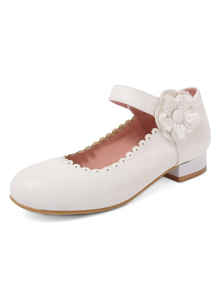 Milanoo Sweet Lolita Shoes Flowers Frill Mary Jane Shoes PU Leather Puppy Heel Lolita Pumps