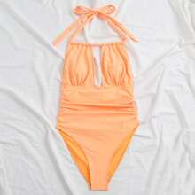 Cut Out Ruched Halter One Piece Swimsuit