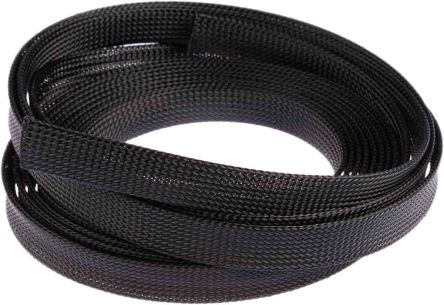 HellermannTyton Expandable Braided PET Black Cable Sleeve, 20mm Diameter, 5m Length