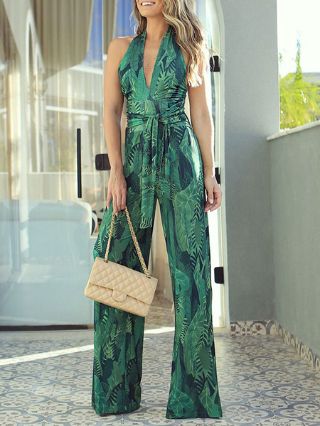 Milanoo Jumpsuit For Women Green Printed Halter Sleeveless Strappy Backless Wide Leg Jumpsuit