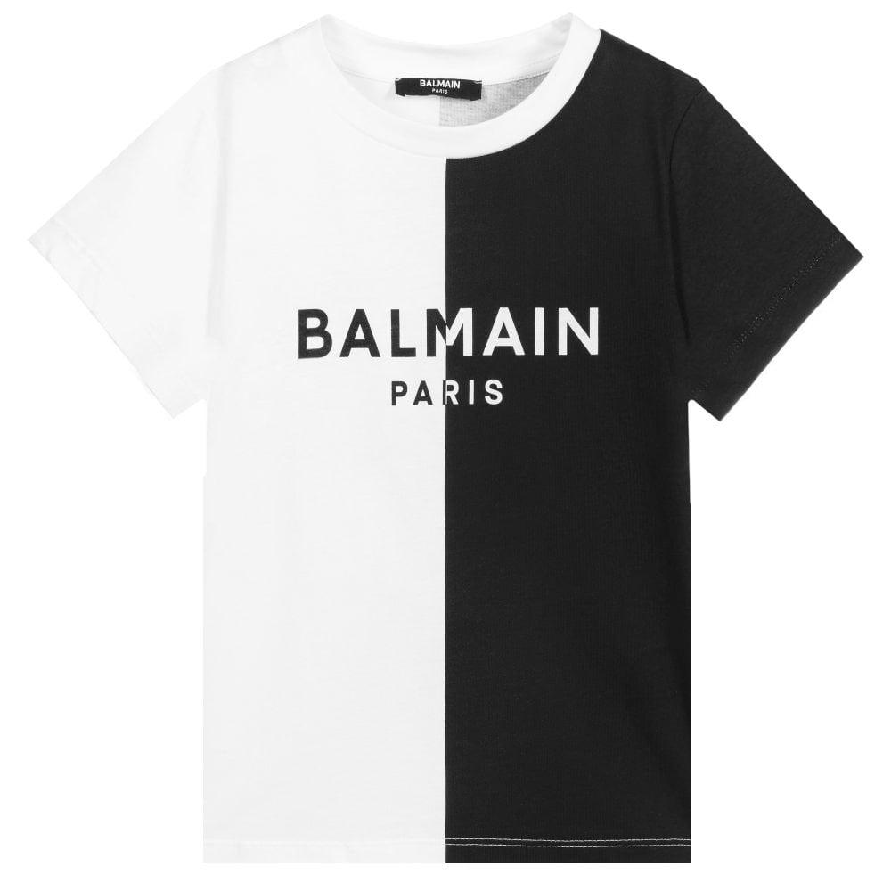 Balmain Two Tone T-shirt Colour: BLACK, Size: 8 YEARS