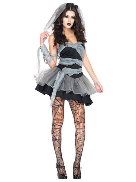 Milanoo Corpse Bride Costume Halloween Black Strapless Women Short Dresses