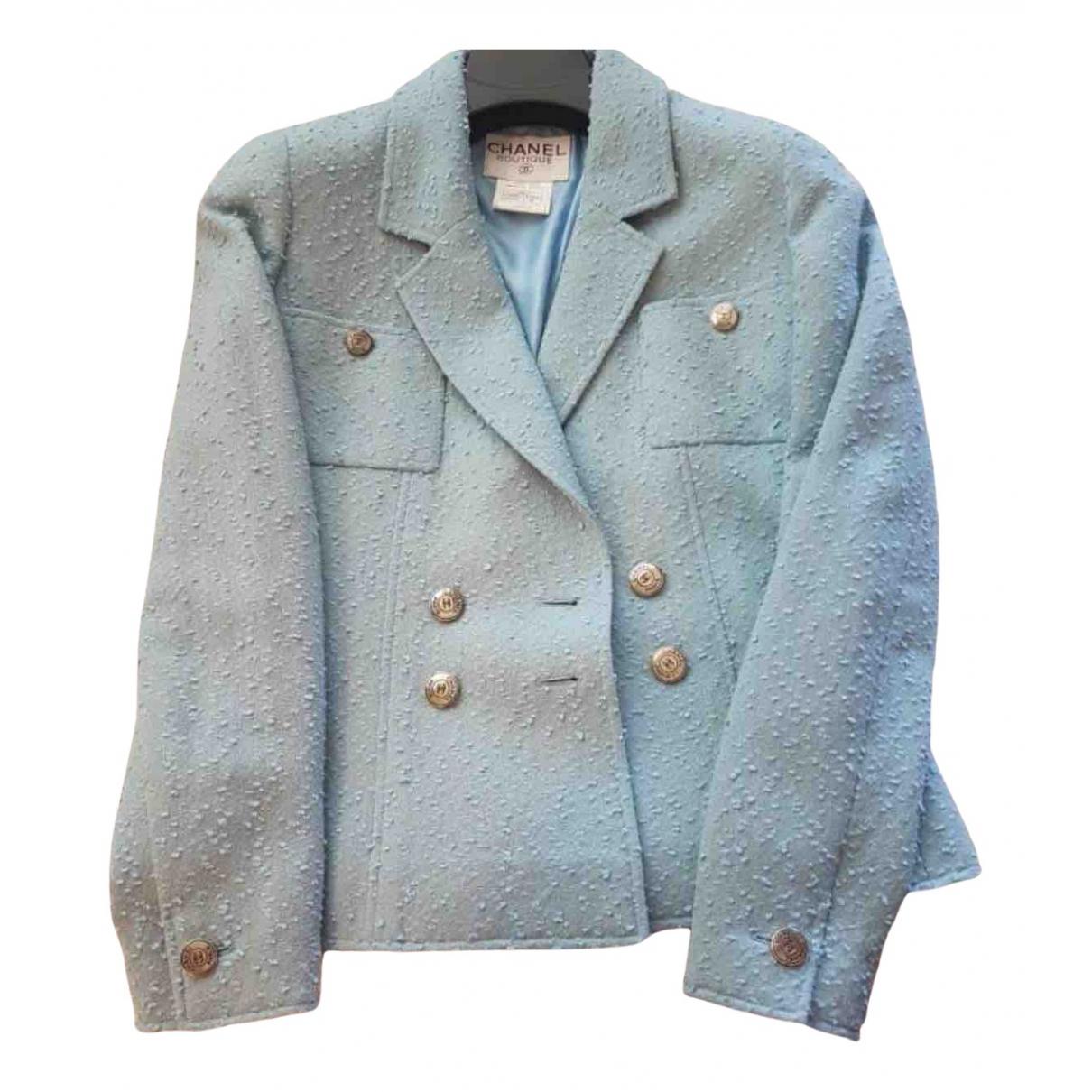 Chanel N Blue Tweed jacket for Women 36 FR