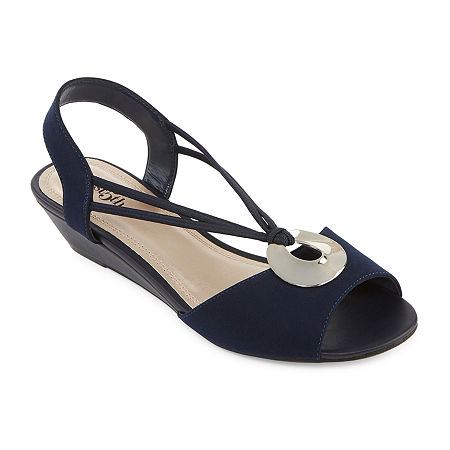 east 5th Womens Ravena Wedge Sandals, 10 Medium, Blue