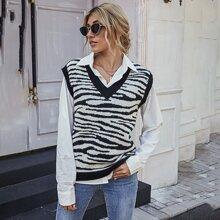 Pullover Weste mit Zebra Streifen und V Kragen