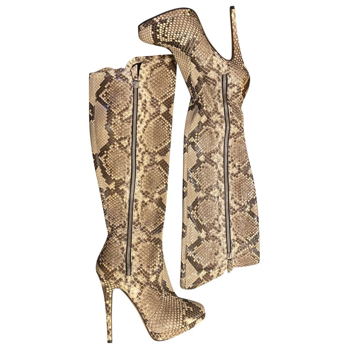 Casadei \N Beige Python Boots for Women 35 EU