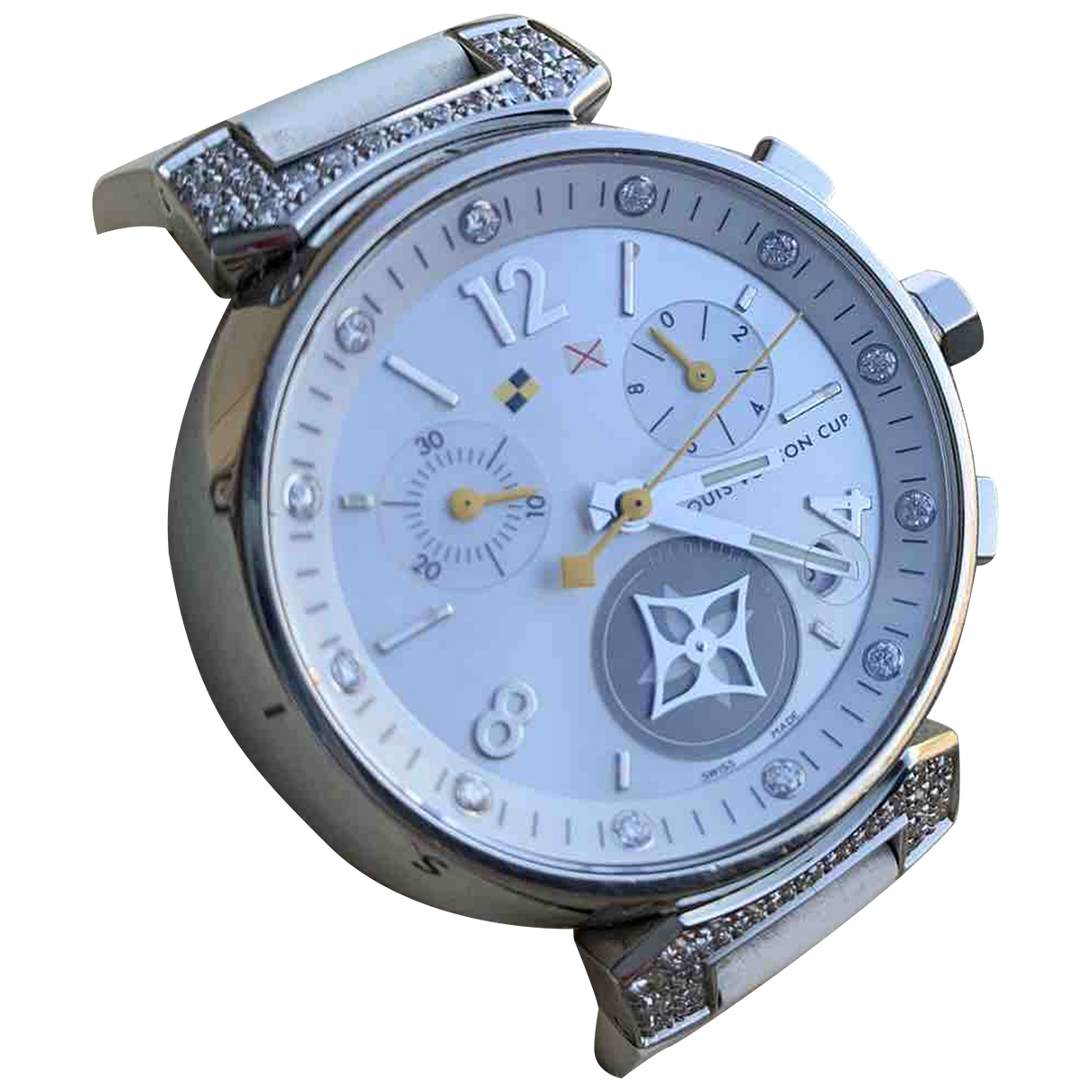 Louis Vuitton Tambour Chronographe Uhr in  Weiss Stahl