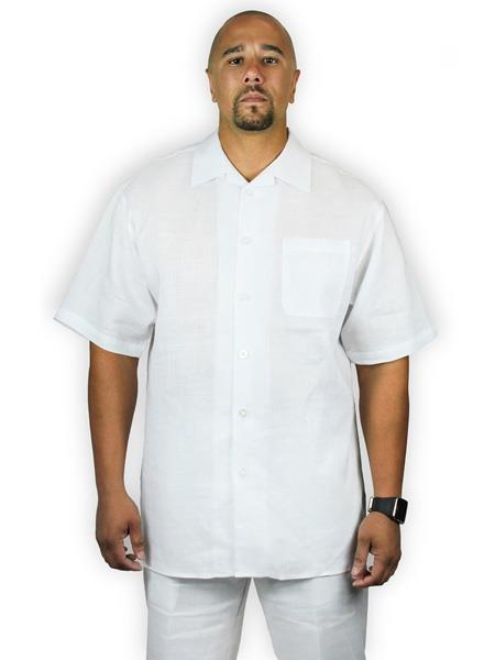 Men's Two Piece Shirt And Shorts White Casual 1 Linen Set Suit