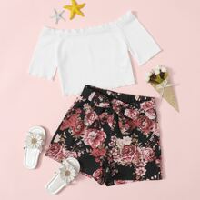 Girls Lettuce Edge Bardot Top & Self Belted Floral Shorts Set