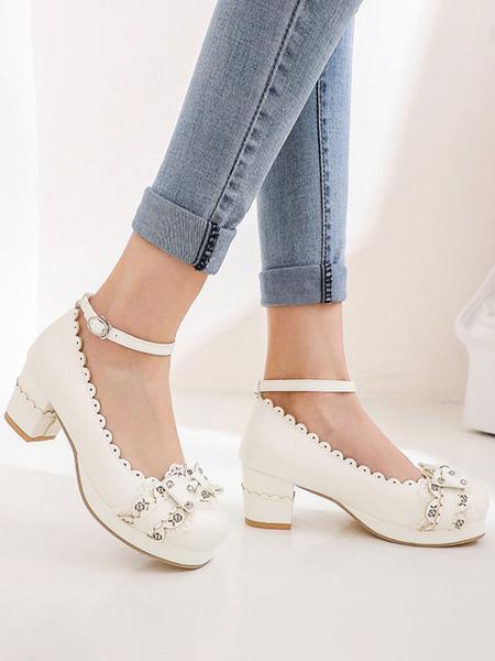 Milanoo Sweet Lolita Footwear Bows PU Leather Chunky Heel Lolita Shoes