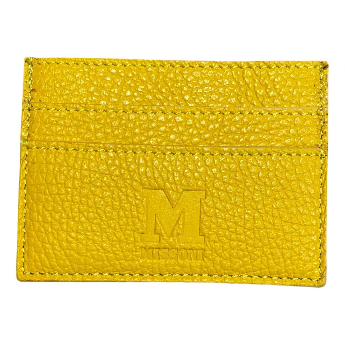 M Missoni - Petite maroquinerie   pour femme en cuir - jaune