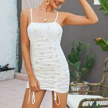Daisy Embroidered Drawstring Ruched Cami Dress