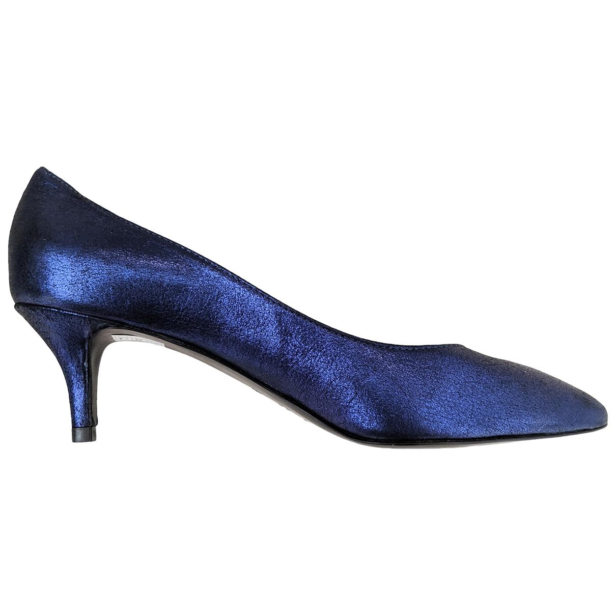 Luca Valentini \N Blue Leather Heels for Women 37.5 EU
