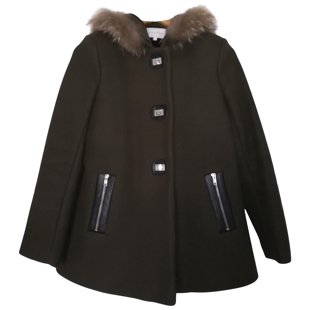 Sandro \N Khaki Wool coat for Women 38 FR