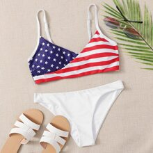 Bañador bikini con estampado de bandera estadounidense