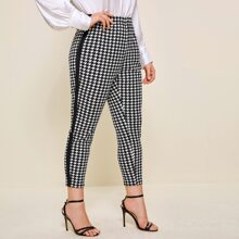 Plus Contrast Side Houndstooth Print Pants