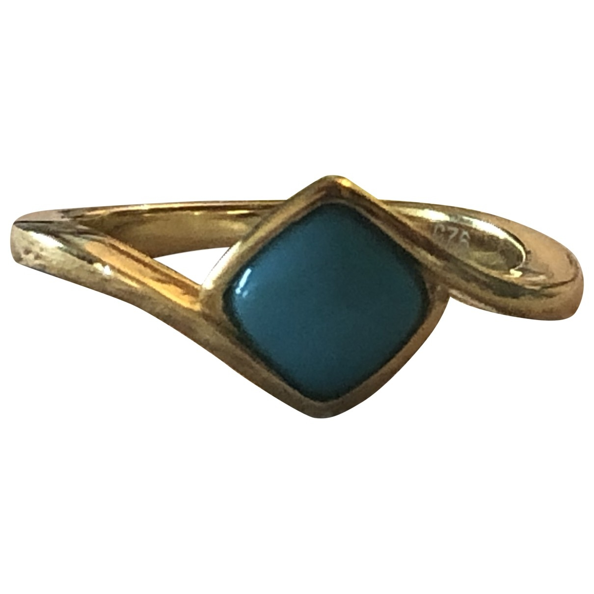 Non Signe / Unsigned Turquoises Ring in  Gold Vermeil