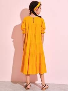 Girls Puff Sleeve Smock Dress