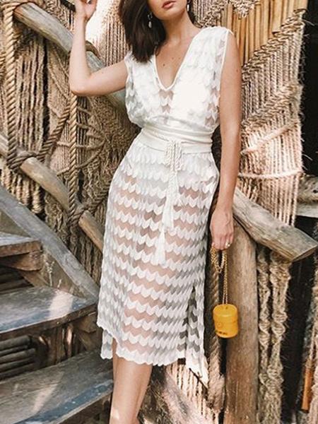 Milanoo Vestidos ajustados sexy Vestido blanco sin mangas con cuello en V sin mangas con cordones informal