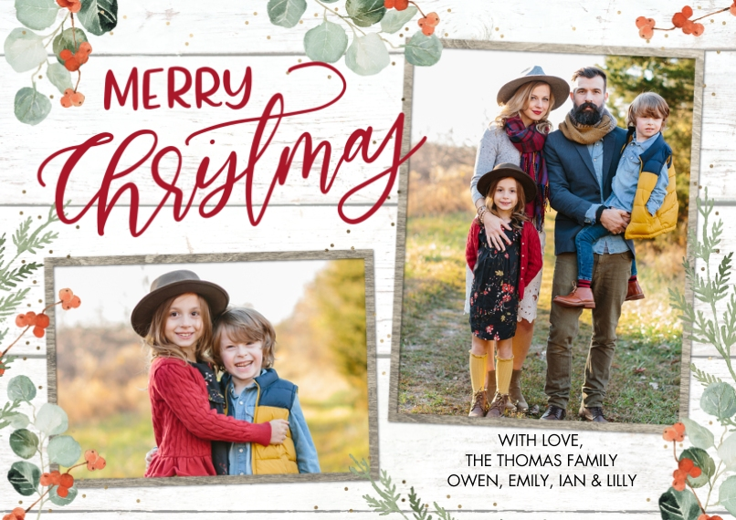 Christmas Photo Cards Flat Glossy Photo Paper Cards with Envelopes, 5x7, Card & Stationery -Christmas Eucalyptus by Tumbalina