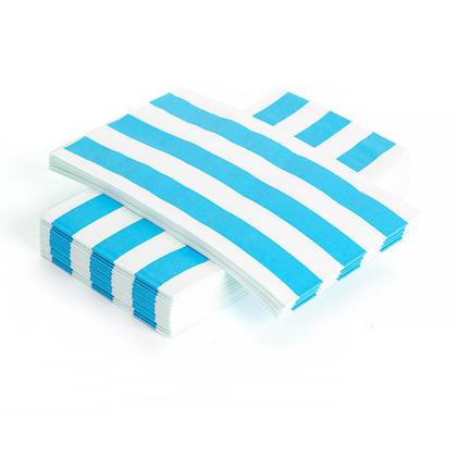 Serviette de table à dîner en papier rayé 33 * 40CM 3Ply Teal 24Pcs - Living Basics ™