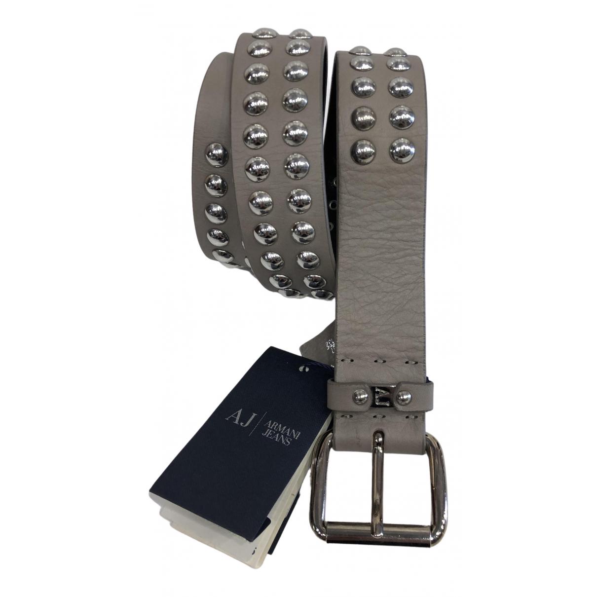 Armani Jeans \N Guertel in  Grau Leder