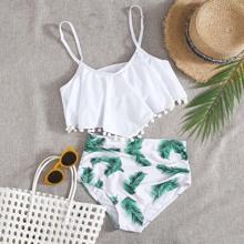 Tropical Pom-pom Hanky Hem Bikini Swimsuit