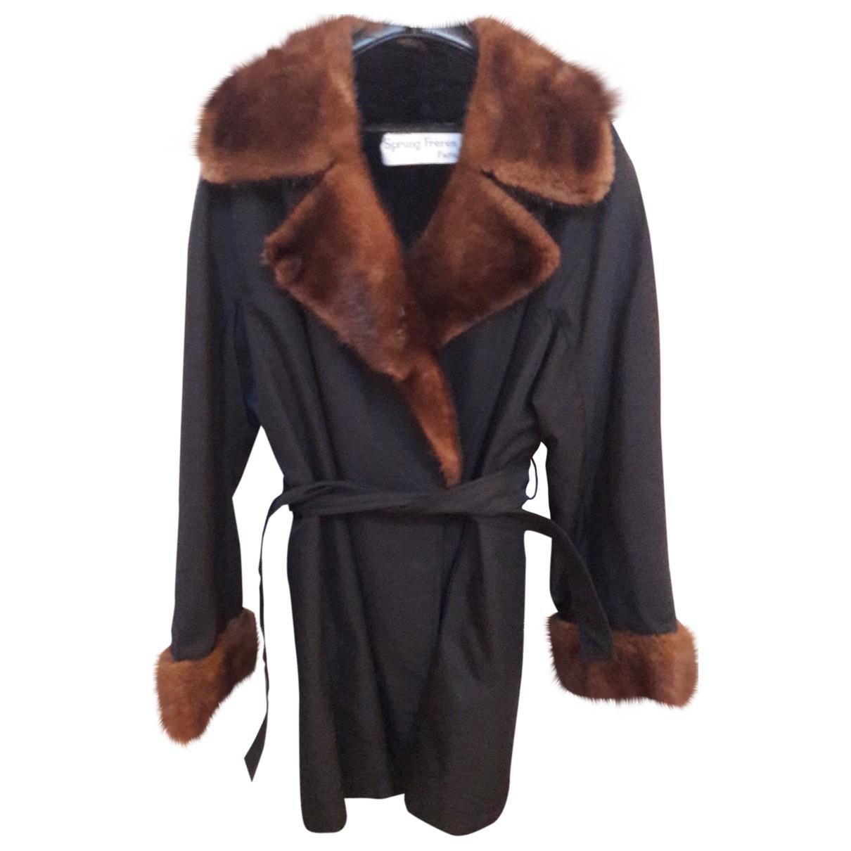 Sprung Frères \N Black Wool coat for Women 36 FR