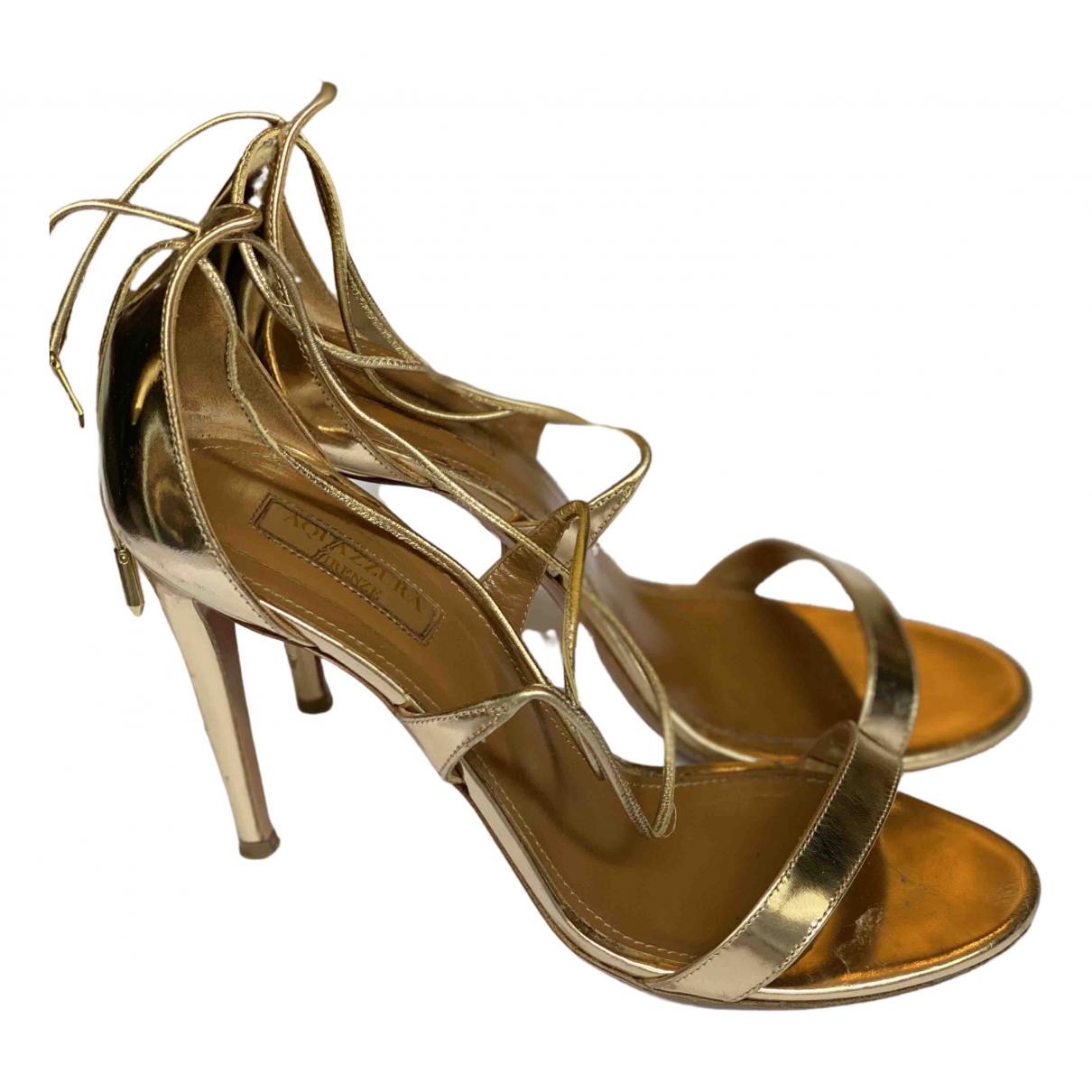 Aquazzura \N Gold Leather Sandals for Women 38 EU
