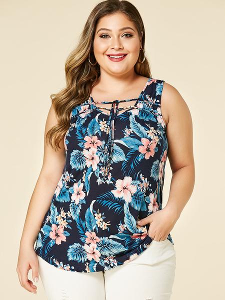 YOINS Plus Size Navy Floral Print V-neck Lace-up Design Vest