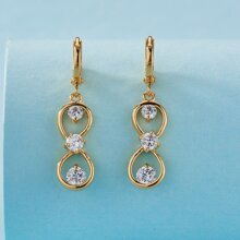 Rhinestone Decor Gourd Drop Earrings