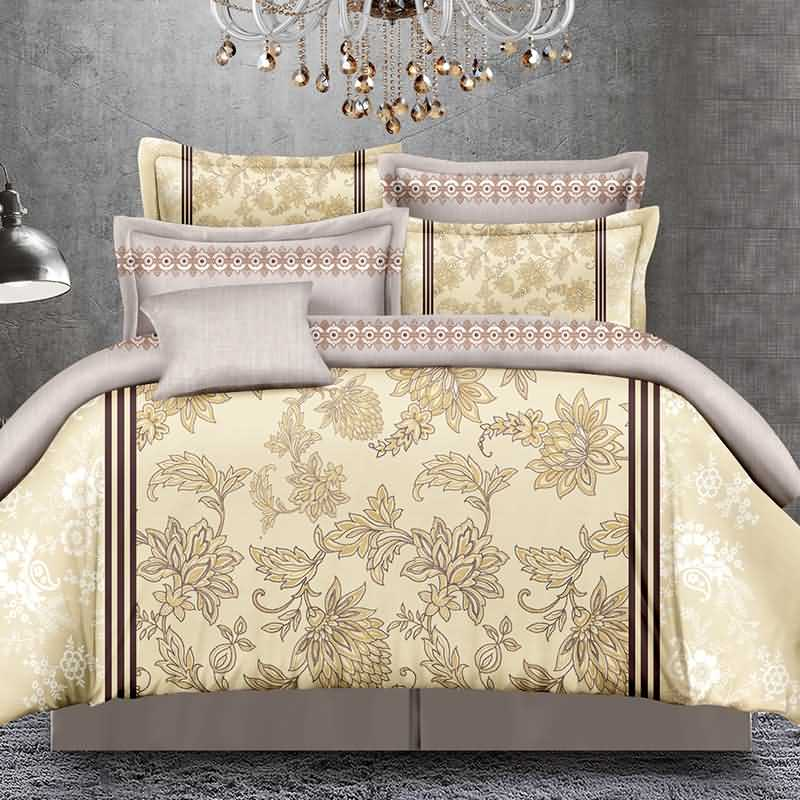 Elegant Arabesque Print Golden Polyester 4-Piece Duvet Cover Sets
