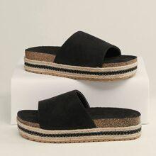 Open Toe Footbed Flatform Slide Sandals