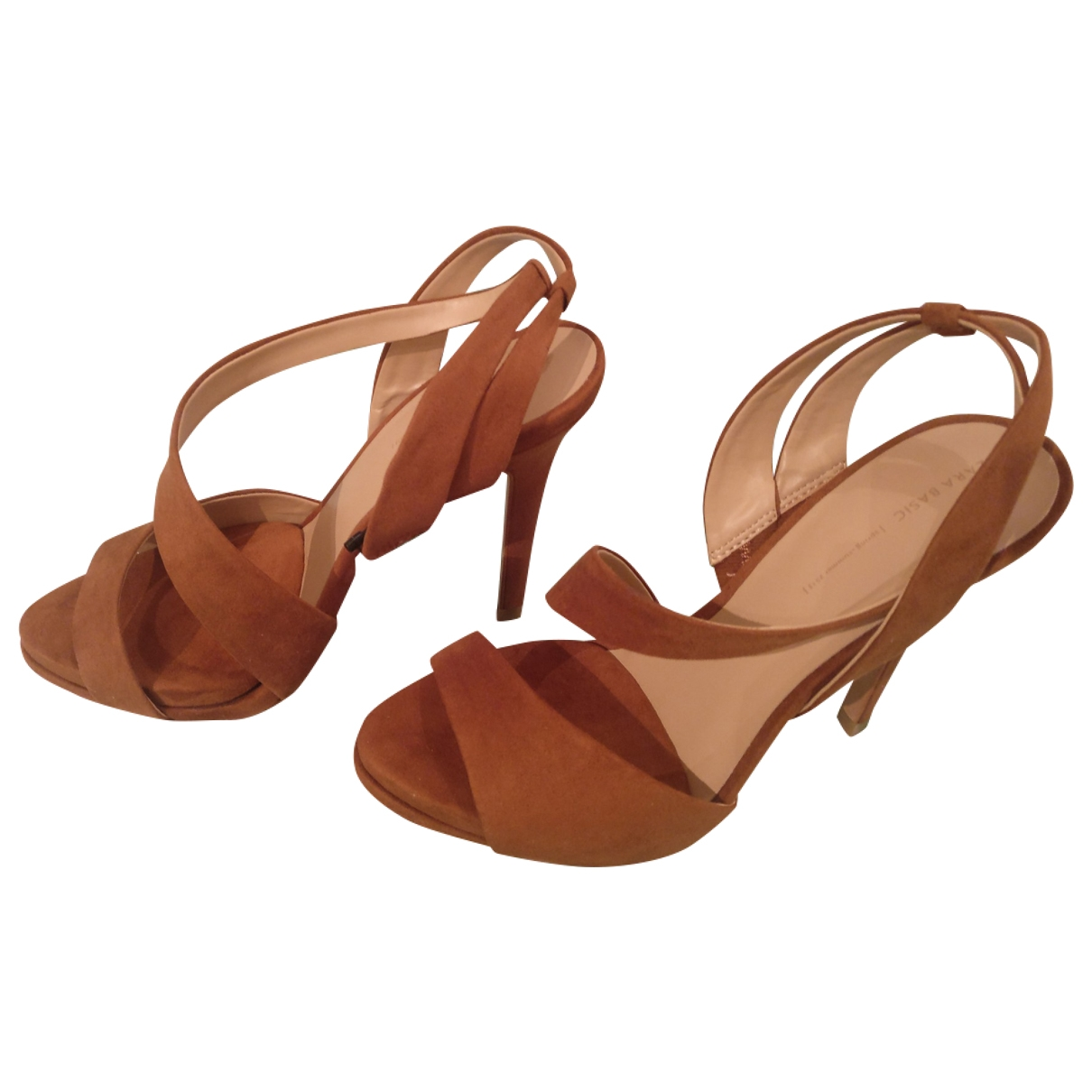 Zara - Sandales   pour femme en suede - camel