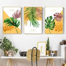 3 Stuecke Wandmalerei mit Pflanzen Muster ohne Rahmen