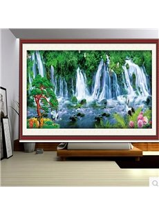 3D Green Pines and Waterfalls with Flying Cranes Printed Polyester Natural Scenery Curtain