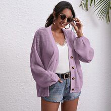 Button Front Drop Shoulder Oversized Cardigan