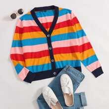 Strickjacke mit Regenbogen Streifen und Knopfen