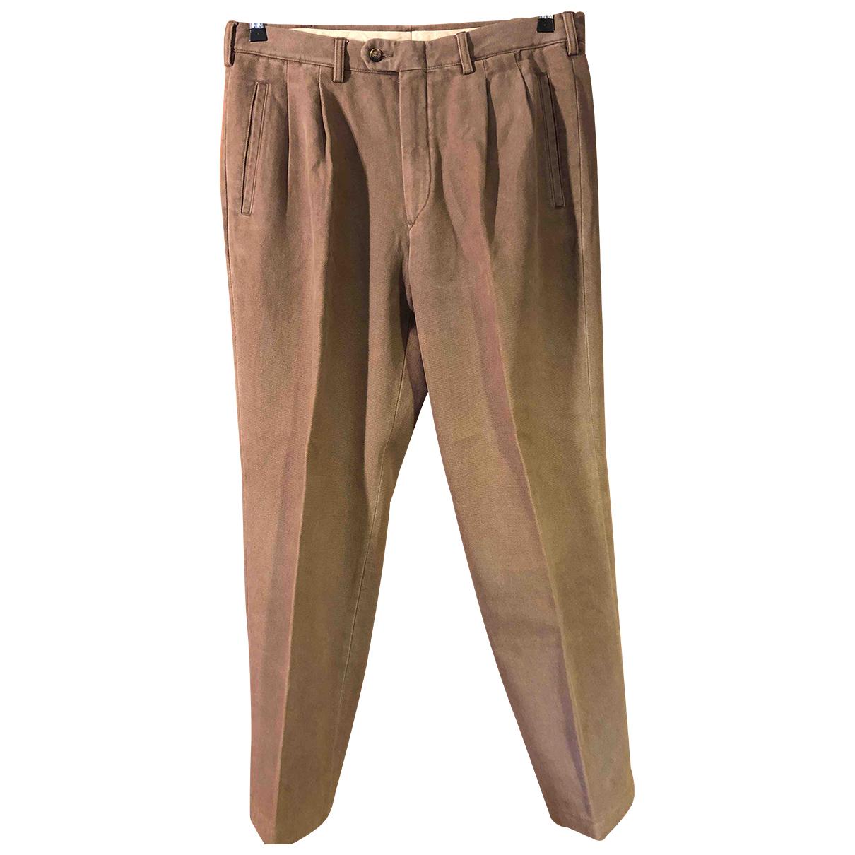 Non Signé / Unsigned Oversize Camel Cotton Trousers for Men 50 IT