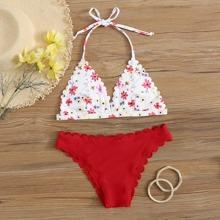 Bañador bikini triangulo ribete en abanico floral