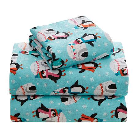 Turkish Cotton Flannel Sheet Set, One Size , Blue