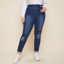 Plus Letter Embroidery Ripped Jeans