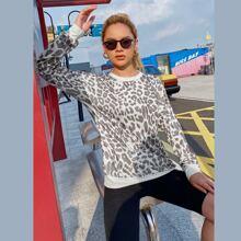 Leopard Print Drop Shoulder Sweatshirt