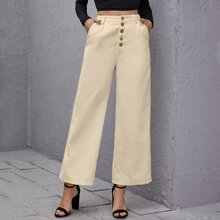 Pantalones de pierna ancha con boton de pana