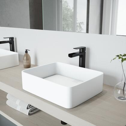 VGT947 Jasmine Matte Stone Vessel Bathroom Sink Set With Amada Faucet In Matte