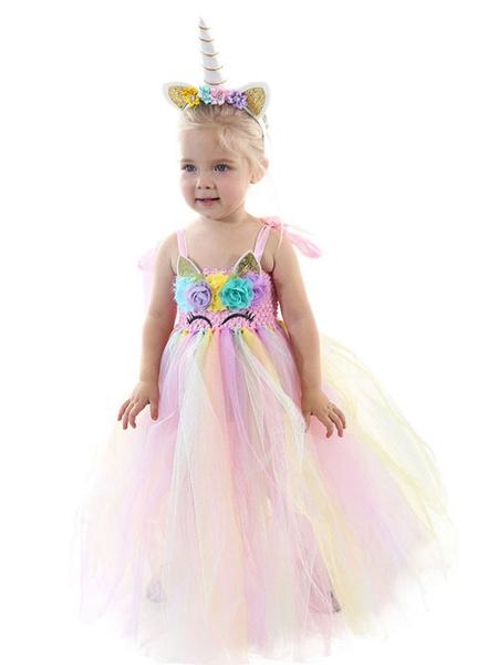 Milanoo Rainbow Unicorn Dresses Tutu Baby Girls Flowers Princess Fancy Dress With Headband Kids Halloween Costumes
