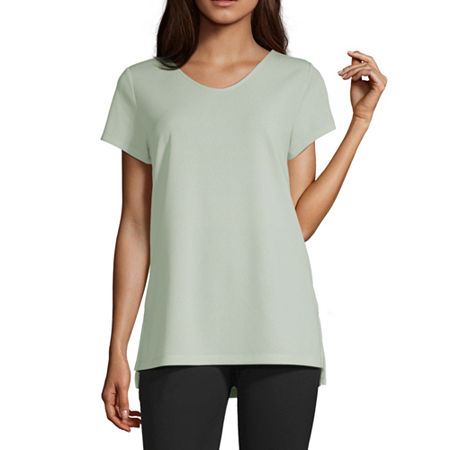 Liz Claiborne Studio-Womens V Neck Short Sleeve T-Shirt, Small , Green